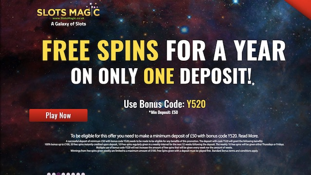 Free Spins for a Year - No Wagering Requirements