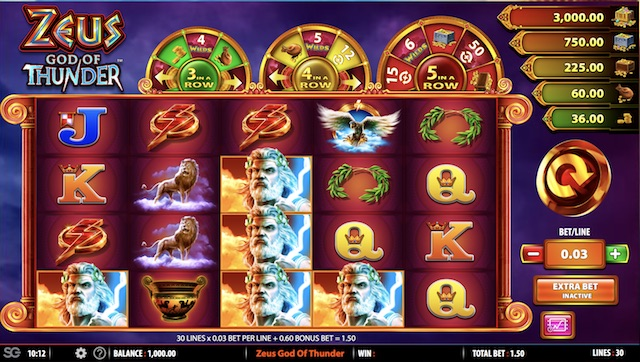 Zeus God of Thunder Slot by WMS Gaming Review, Bonus and Recommended Casinos