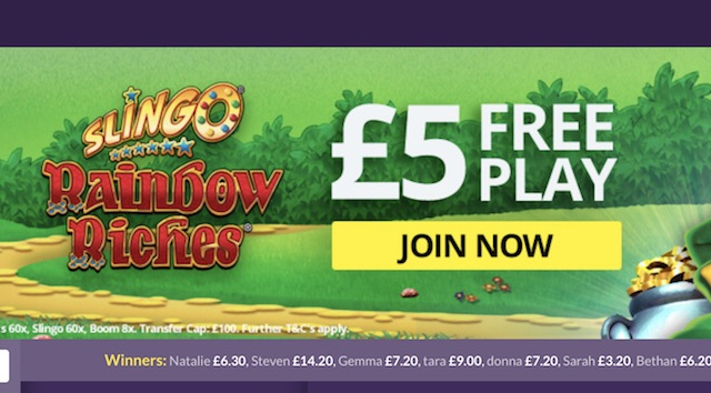 Slingo £5 Freeplay Bonus